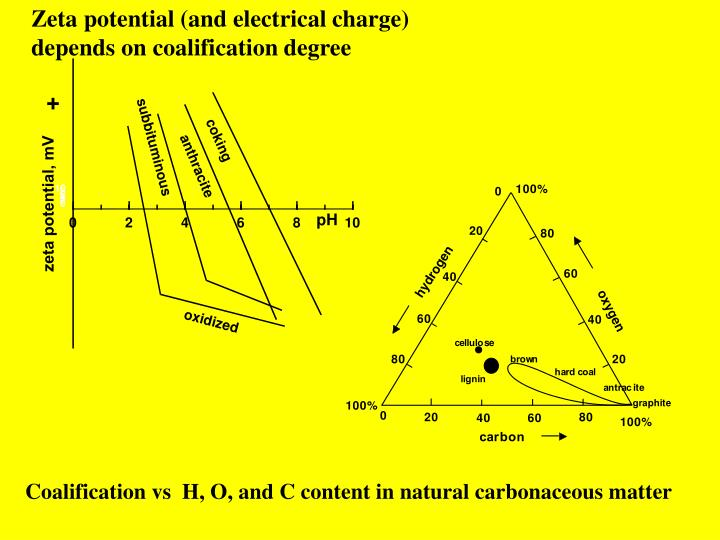 Zeta potential (and electrical charge) depends on coalification degree