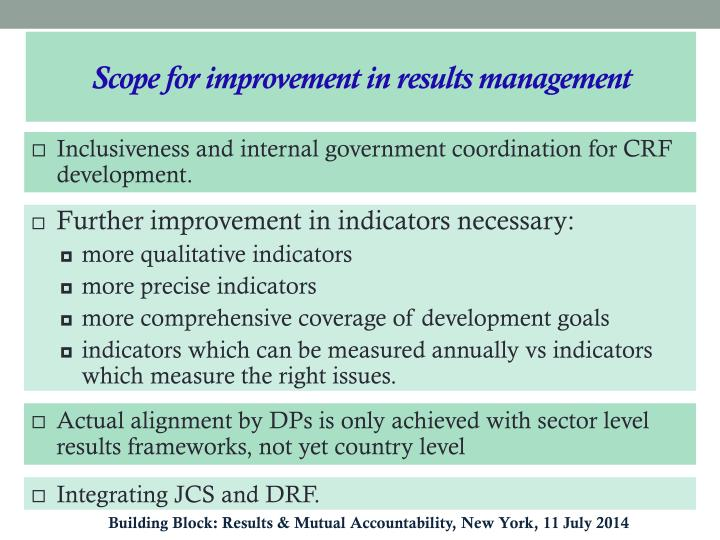 Scope for improvement in results management