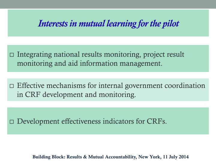 Interests in mutual learning for the pilot