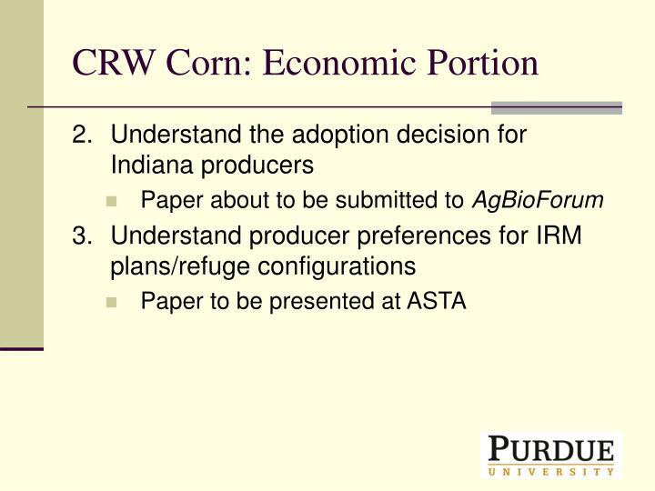 CRW Corn: Economic Portion