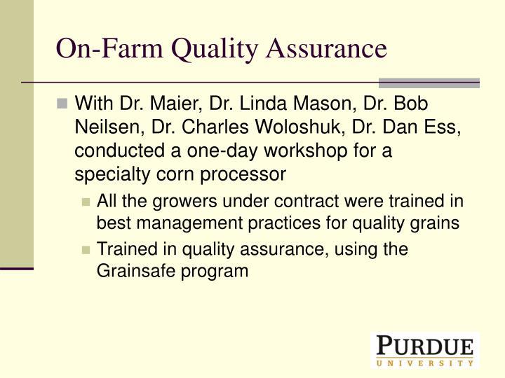 On-Farm Quality Assurance