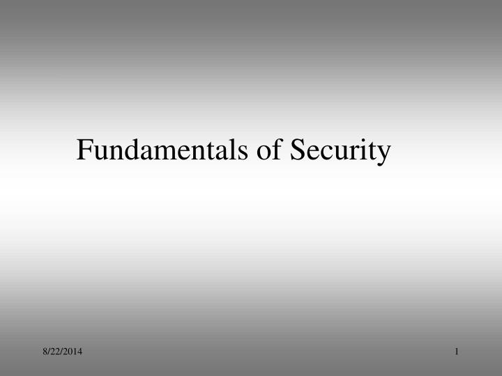 fundamentals of security n.