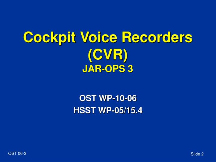 Cockpit voice recorders cvr jar ops 3