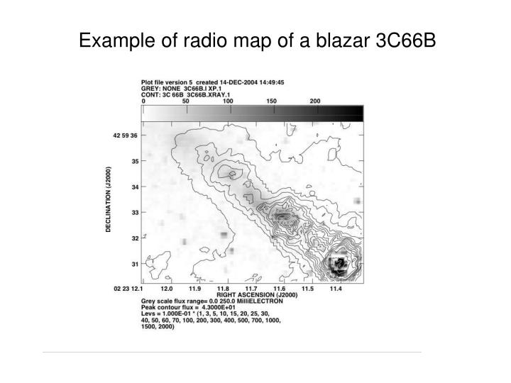 Example of radio map of a blazar 3C66B