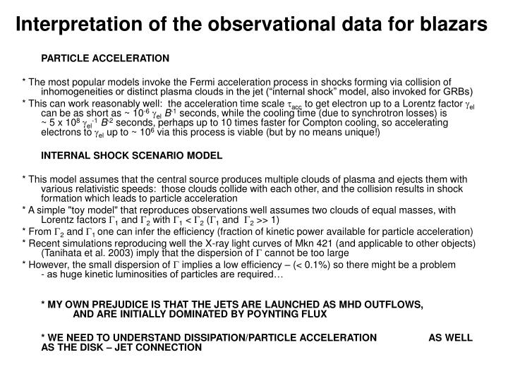 Interpretation of the observational data for blazars
