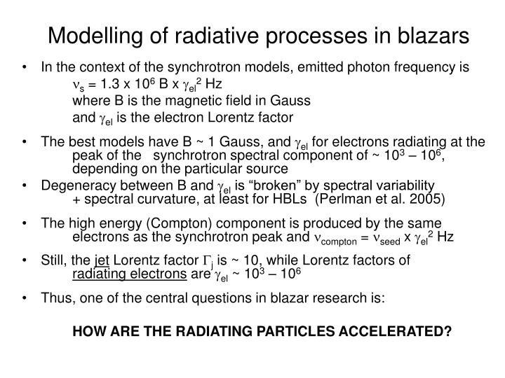 Modelling of radiative processes in blazars