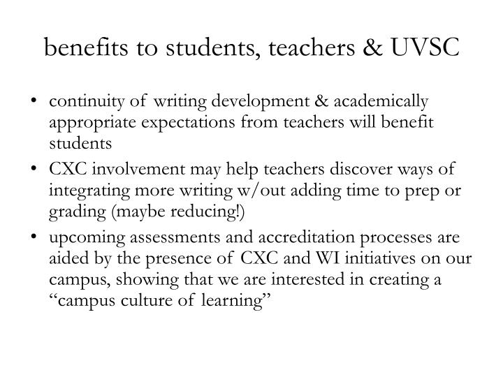 benefits to students, teachers & UVSC
