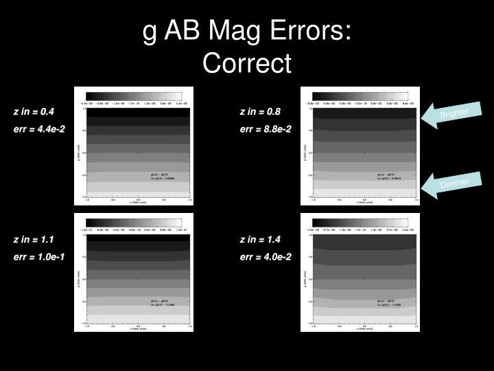 g AB Mag Errors: