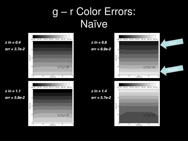 g – r Color Errors: