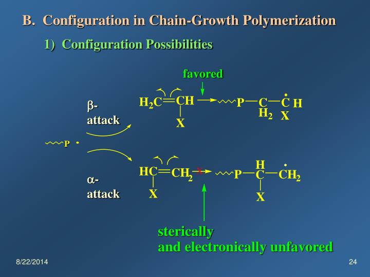 B.  Configuration in Chain-Growth Polymerization