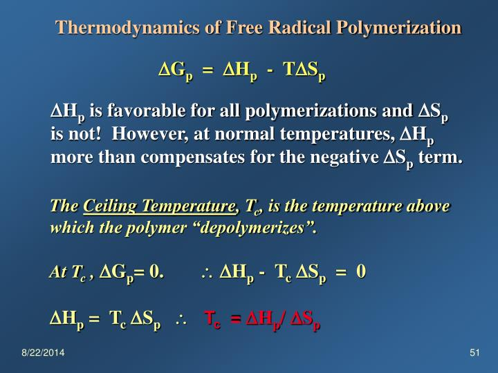 Thermodynamics of Free Radical Polymerization
