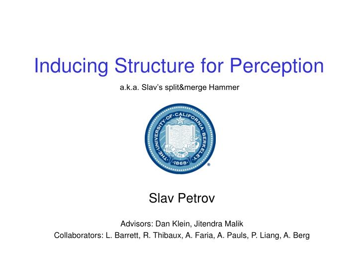 inducing structure for perception n.