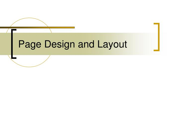 Page design and layout