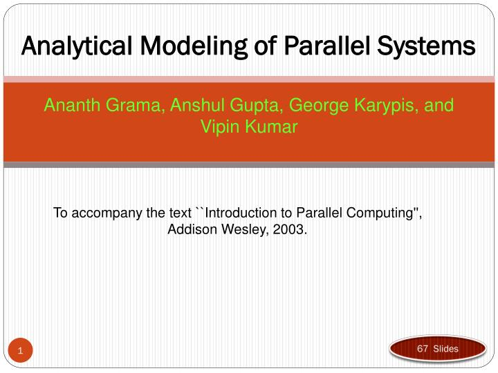 analytical modeling of parallel systems n.
