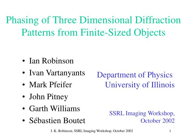 Phasing of three dimensional diffraction patterns from finite sized objects