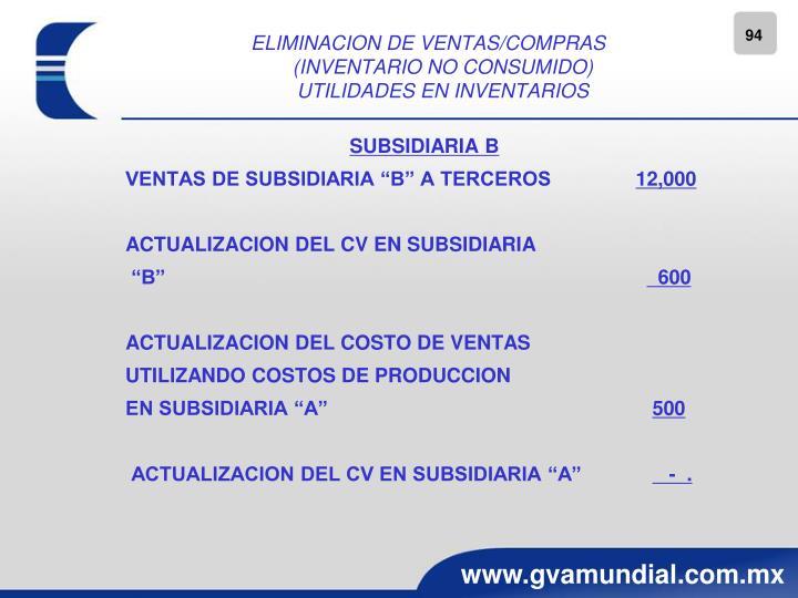 ELIMINACION DE VENTAS/COMPRAS