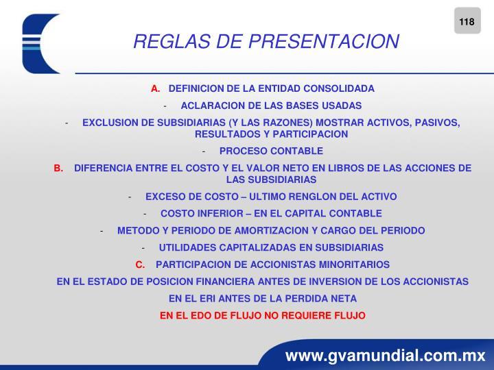 REGLAS DE PRESENTACION