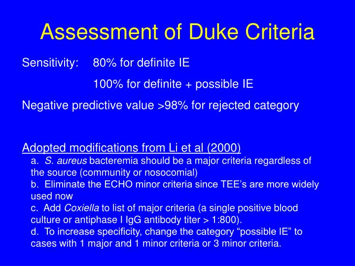 Assessment of Duke Criteria