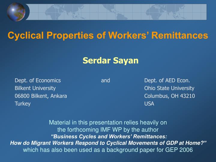 cyclical properties of workers remittances n.