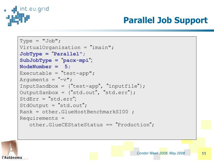 Parallel Job Support