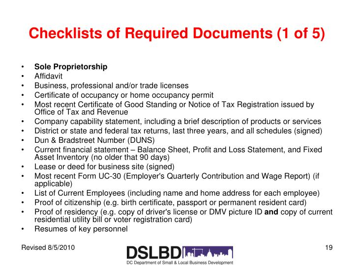 Checklists of Required Documents (1 of 5)
