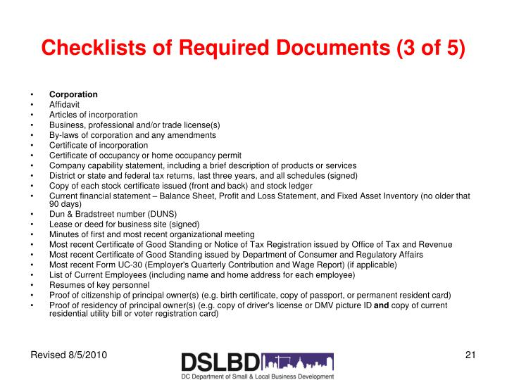 Checklists of Required Documents (3 of 5)