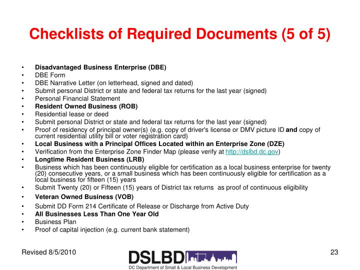 Checklists of Required Documents (5 of 5)