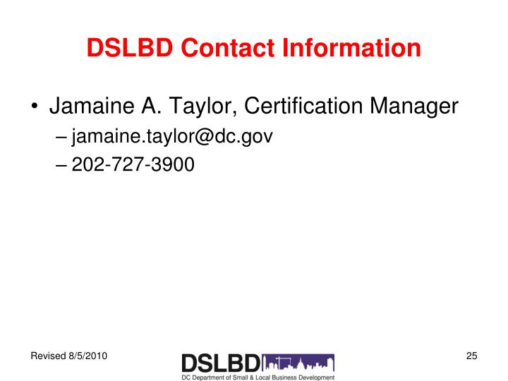 DSLBD Contact Information