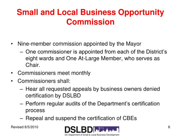 Small and Local Business Opportunity Commission