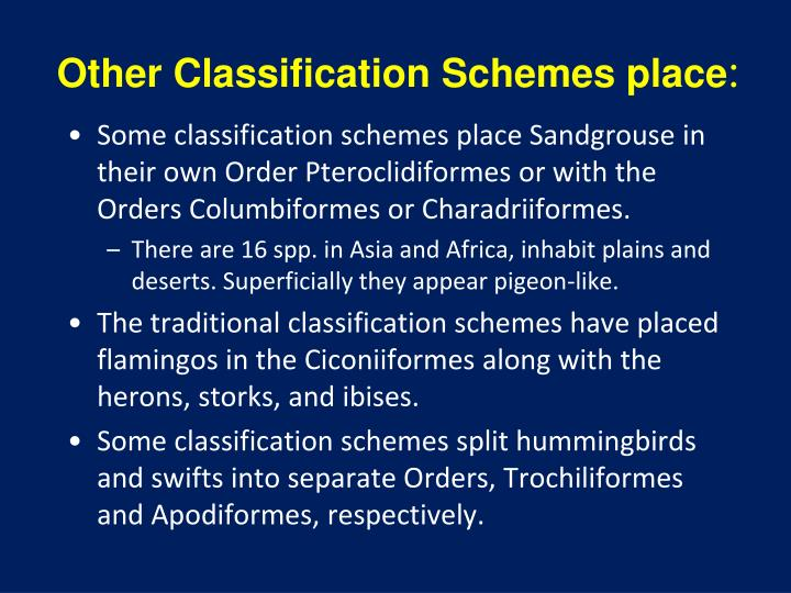 Other Classification Schemes place