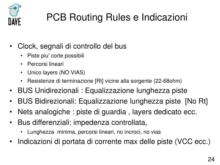 PCB Routing Rules e Indicazioni