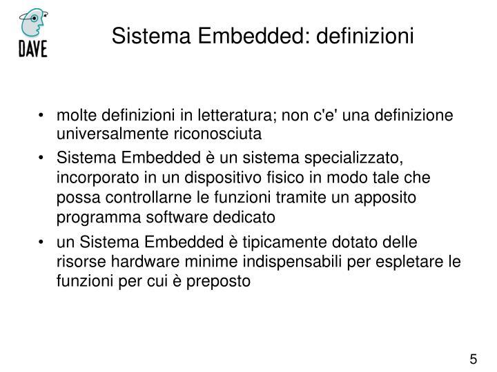 Sistema Embedded: definizioni