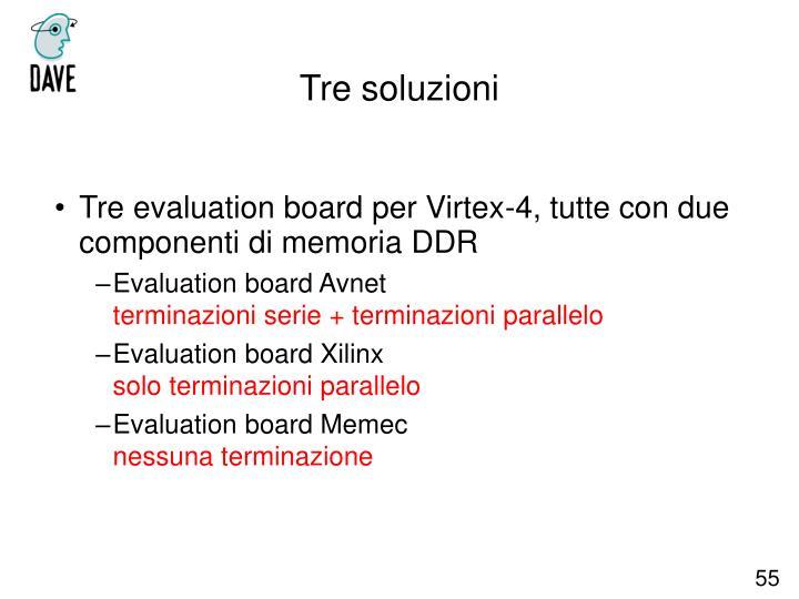 Tre evaluation board per Virtex-4, tutte con due componenti di memoria DDR