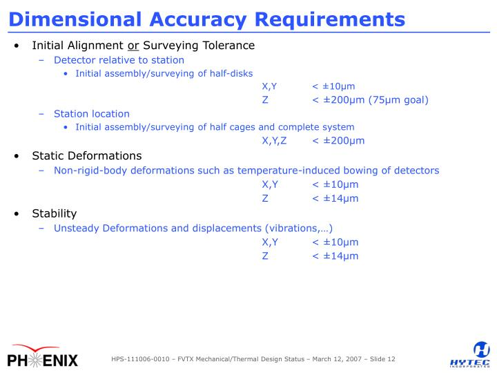 Dimensional Accuracy Requirements