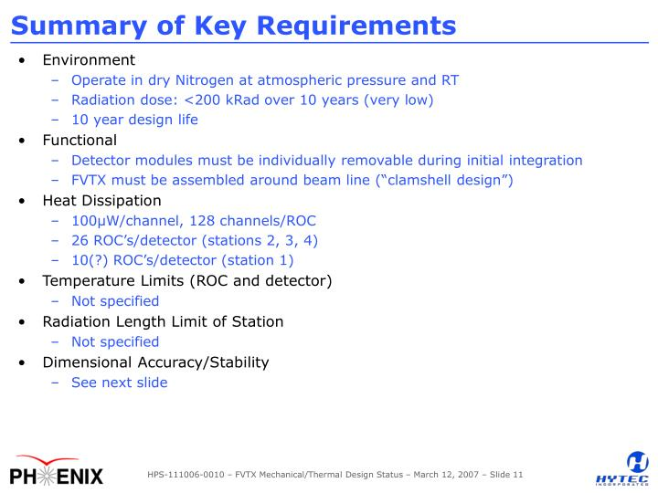 Summary of Key Requirements