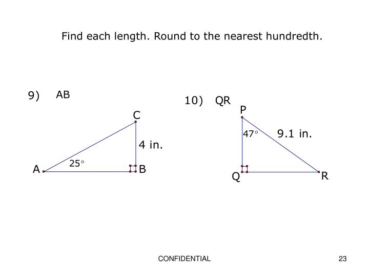 Find each length. Round to the nearest hundredth.