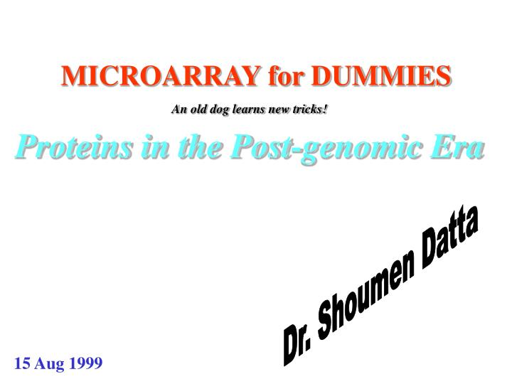 microarray for dummies n.