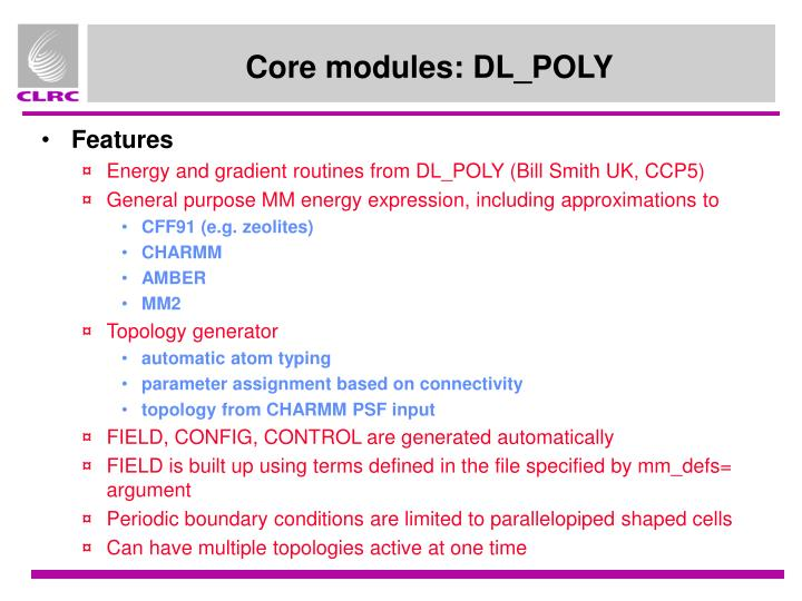 Core modules: DL_POLY
