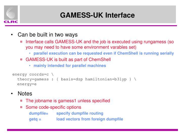 GAMESS-UK Interface