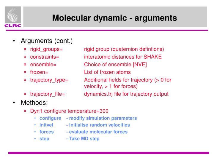 Molecular dynamic - arguments