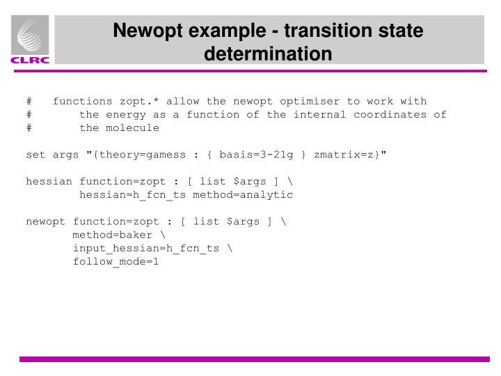 Newopt example - transition state determination