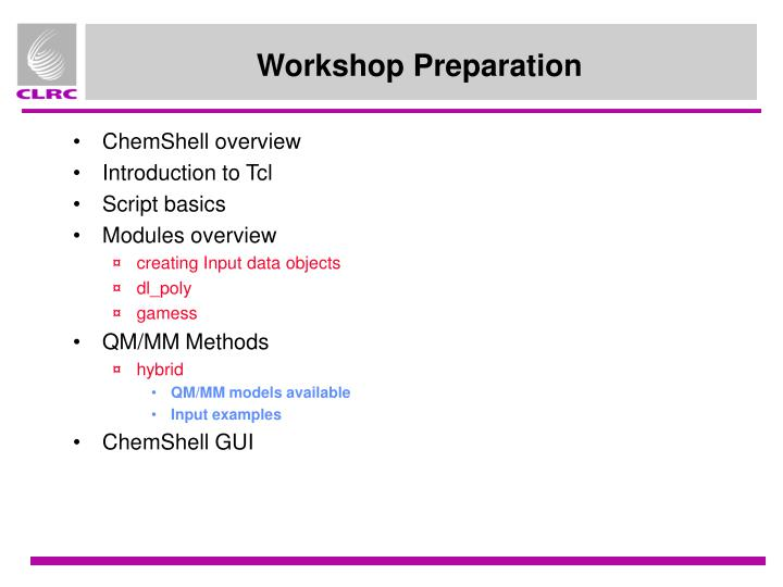 Workshop preparation