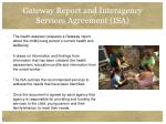 gateway report and interagency services agreement isa