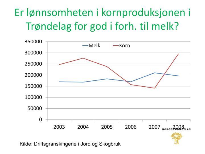 Er lønnsomheten i kornproduksjonen i Trøndelag for god i forh. til melk?