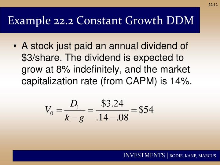 Example 22.2 Constant Growth DDM