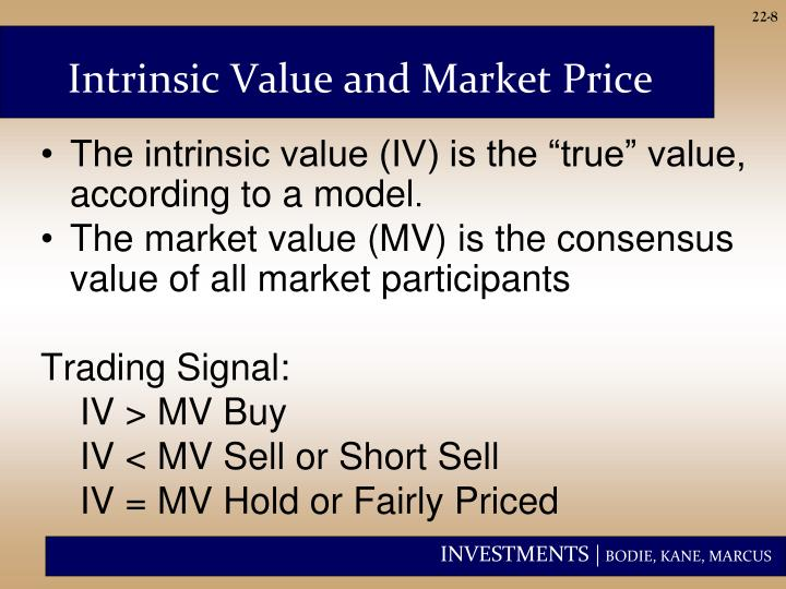 """The intrinsic value (IV) is the """"true"""" value, according to a model"""