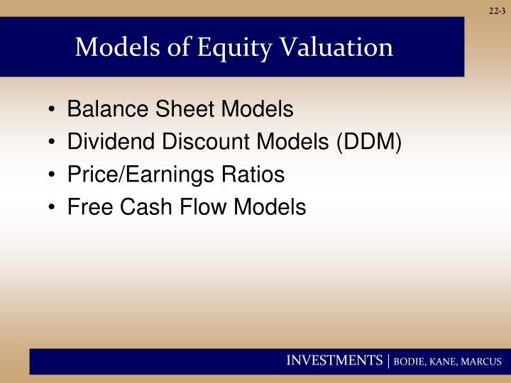 Models of equity valuation
