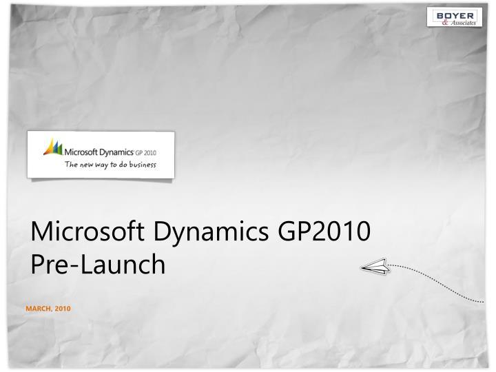 microsoft dynamics gp2010 pre launch n.