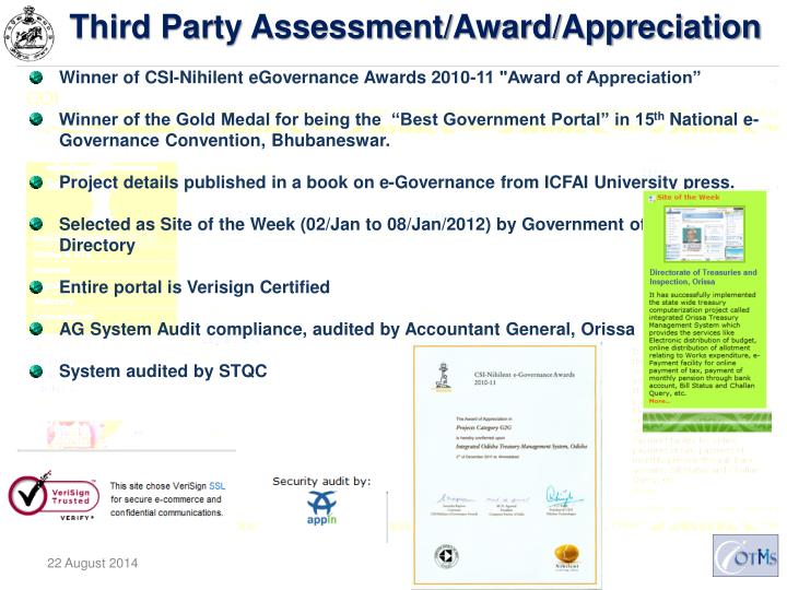 Third Party Assessment/Award/Appreciation