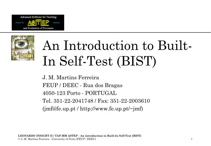 an introduction to built in self test bist n.